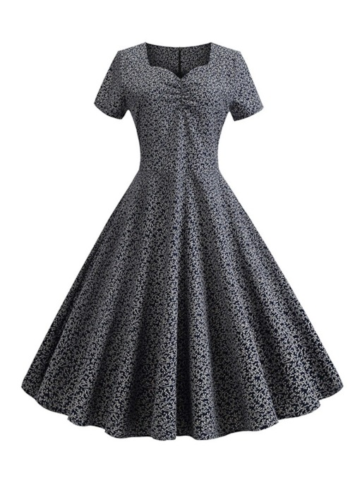 Short Sleeve Square Neck Print Summer Women's Day Dress