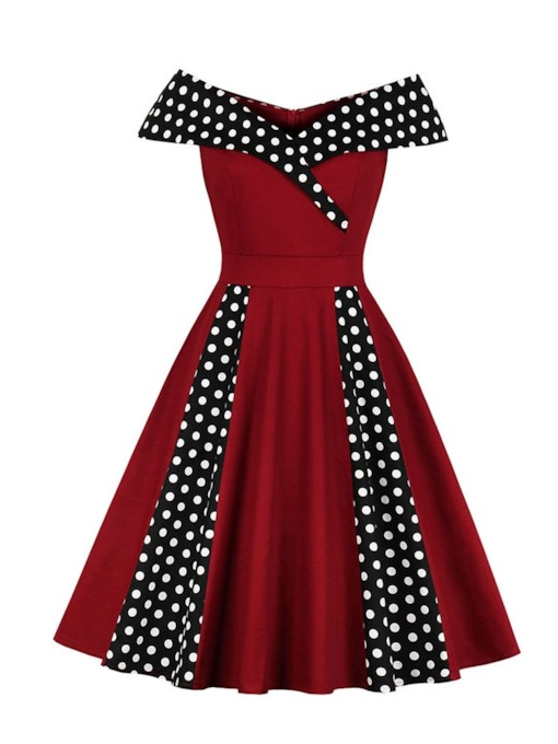 Polka Dots Off Shoulder A-Line Women's Day Dress