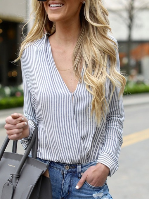 Loose Deep V-Neck Stripe Women's Blouse