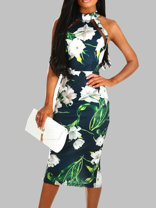 Sleeveless Floral Color Block Women's Sheath Dress