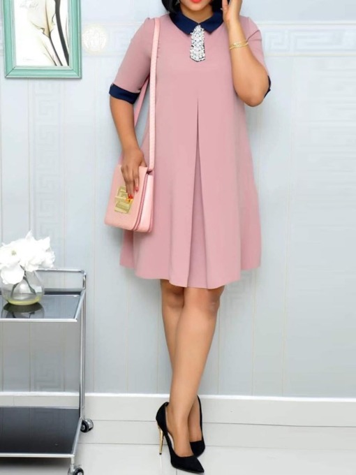 Half Sleeve A-Line Plain Women's Day Dress