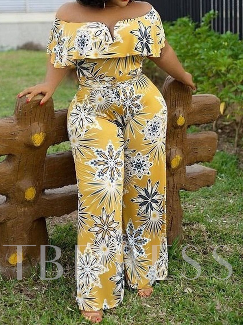 African Fashion Print Full Length Casual Floral Slim Women's Jumpsuit