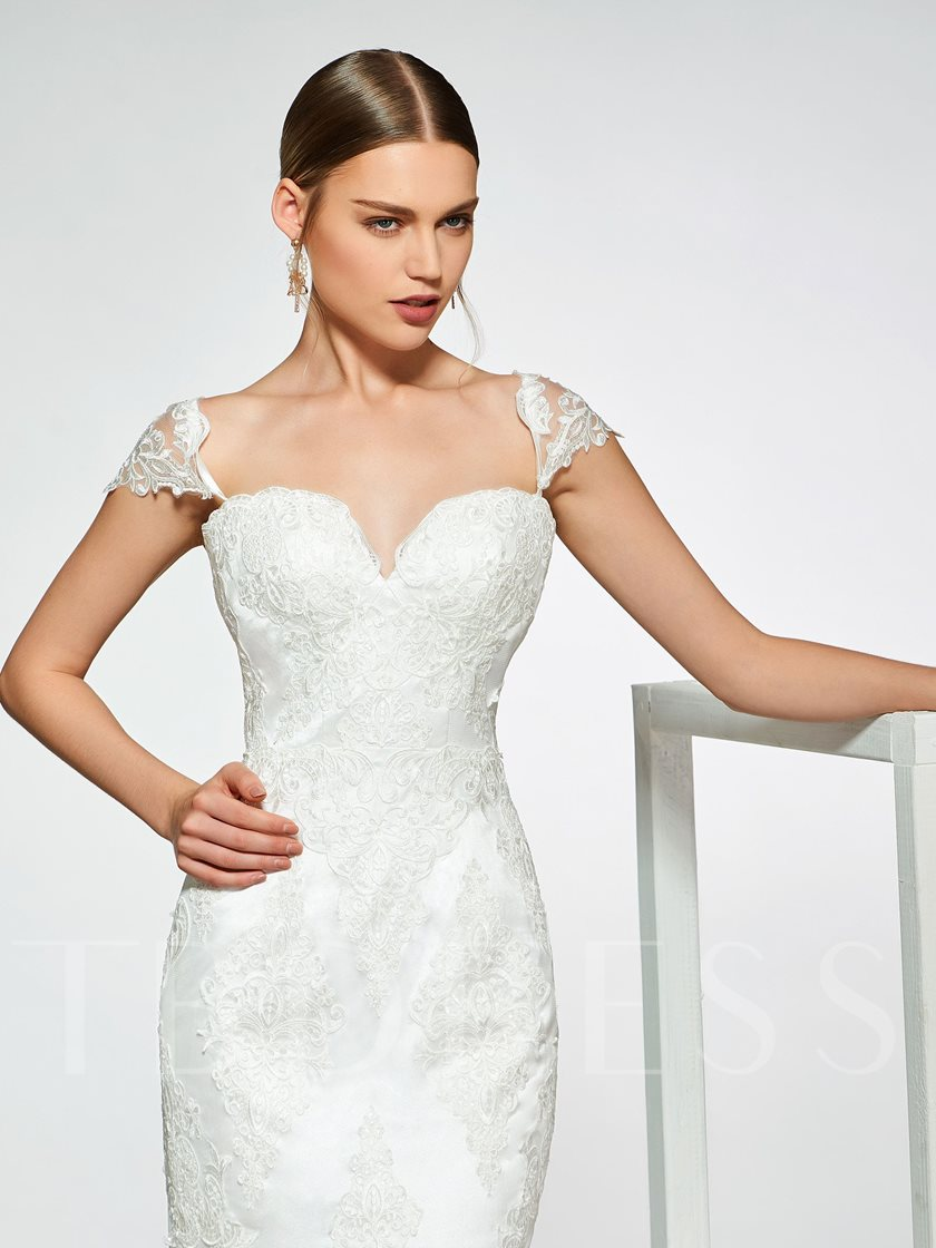 Cap Sleeves Lace Appliques Mermaid Wedding Dress 2019