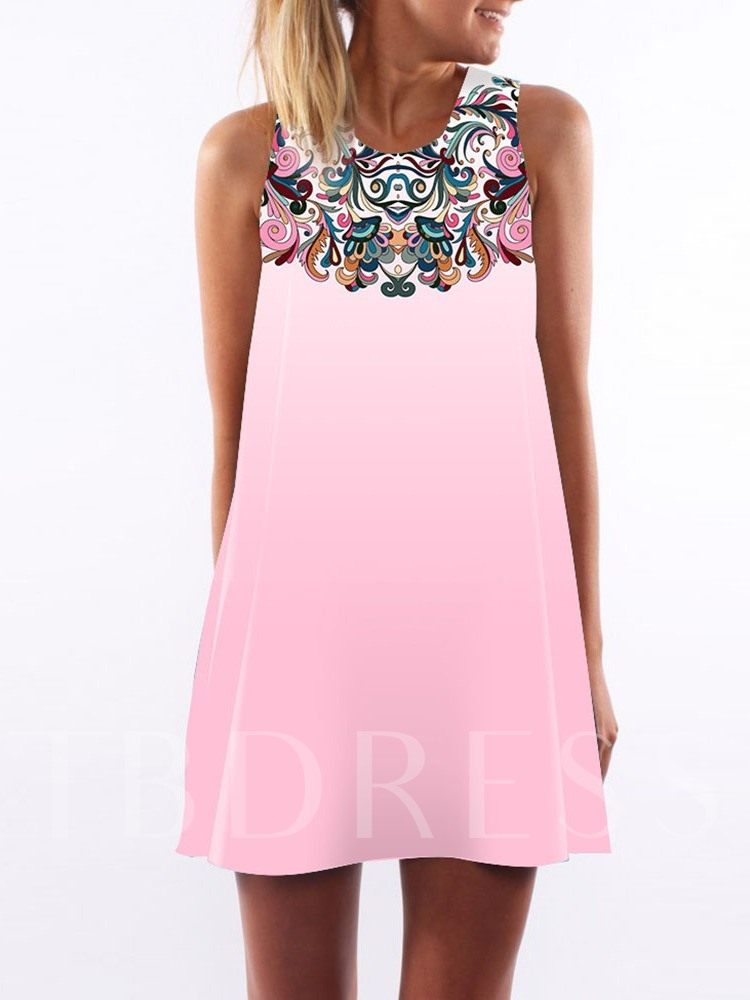 Floral Print Sleeveless Color Block Women's Day Dress