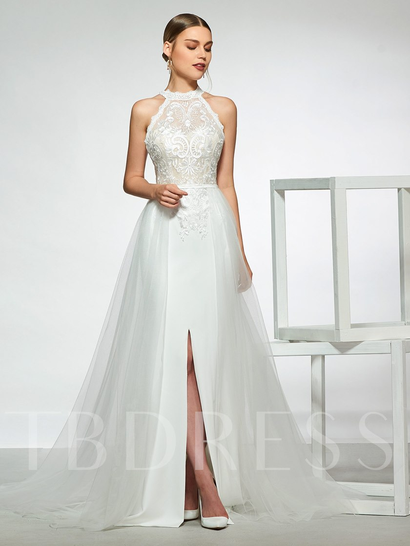 Watteau Train Split-Front Lace Wedding Dress 2019