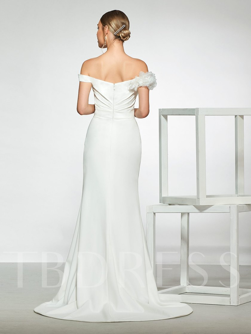 Flowers Off the Shoulder Split-Front Mermaid Wedding Dress 2019