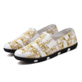 Flat Heel Floral Slip-On Low-Cut Upper Round Toe Men's Loafers