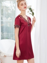 Satin Embroider V-Neck Women's Nightgown