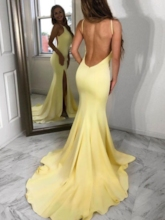 Trumpet Sweep Train Floor-Length Spaghetti Straps Evening Dress 2019