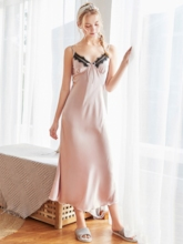 Satin Patchwork V-Neck Long Women's Nightgown