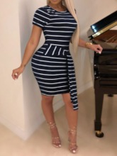 Lace-Up Round Neck Short Sleeve Stripe Women's Bodycon Dress