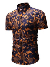 Geometric Casual Print Lapel Slim Men's Shirt