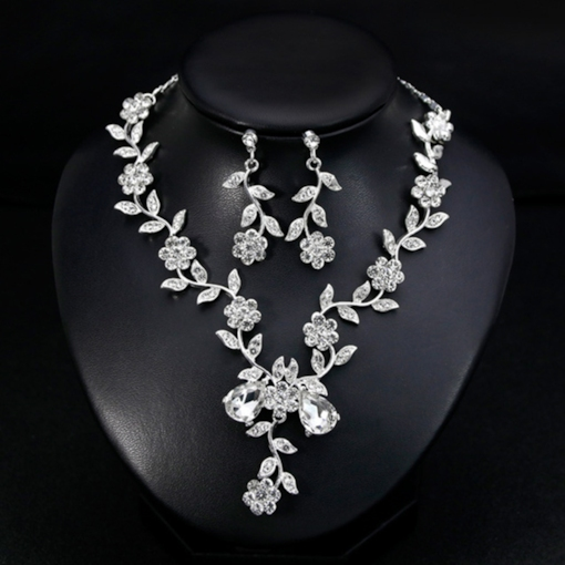 Gemmed Leaf Necklace Jewelry Sets (Wedding)