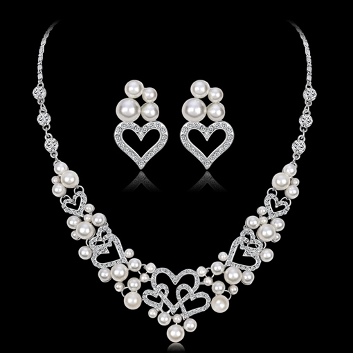 Pearl Inlaid Necklace European Jewelry Sets (Wedding)