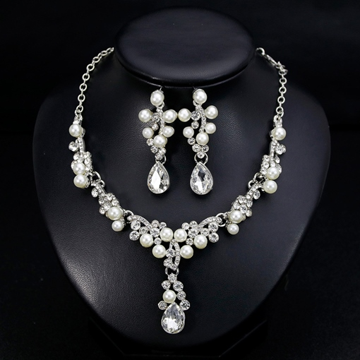 Earrings Necklace Floral European Jewelry Sets (Wedding)