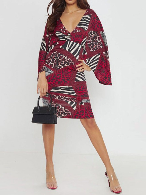 V-Neck Nine Points Sleeve Print Pullover Women's Day Dress