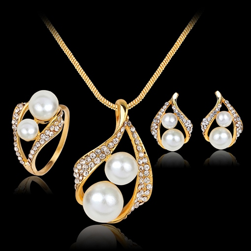 Water Drop Earrings Pearl Inlaid Jewelry Sets (Wedding)