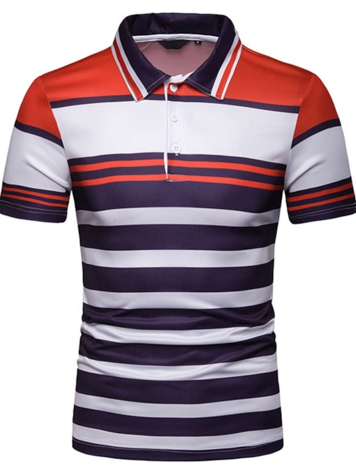 Polo Neck Casual Stripe Men's Polo Shirt
