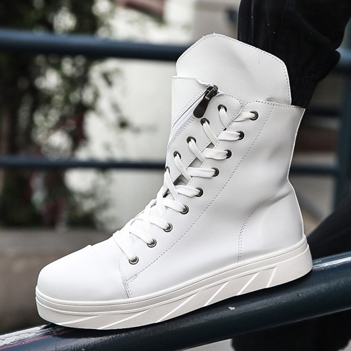 High Top Zipper Plain Round Toe Skate Shoes for Men