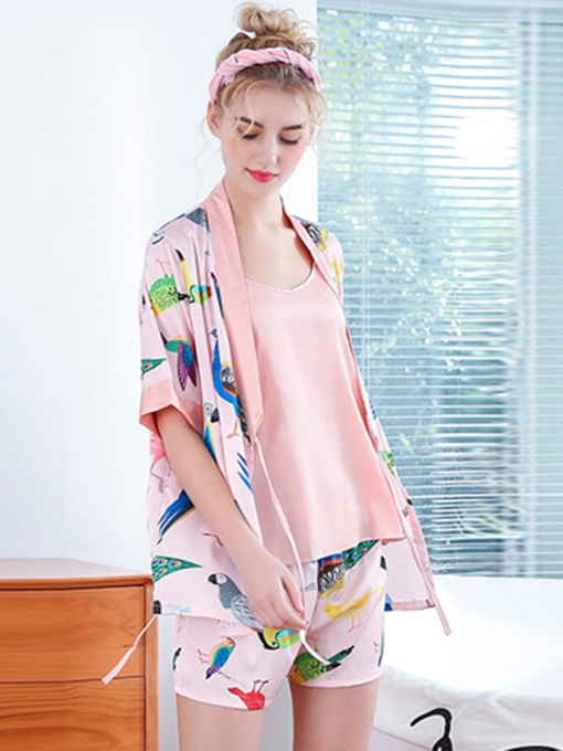 Sweet Print Satin Women's Pajama Suit Summer 3 Pieces