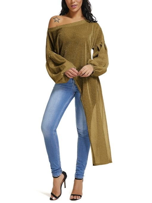 Oblique Collar Plain Long Sleeve Long Casual Women's Blouse
