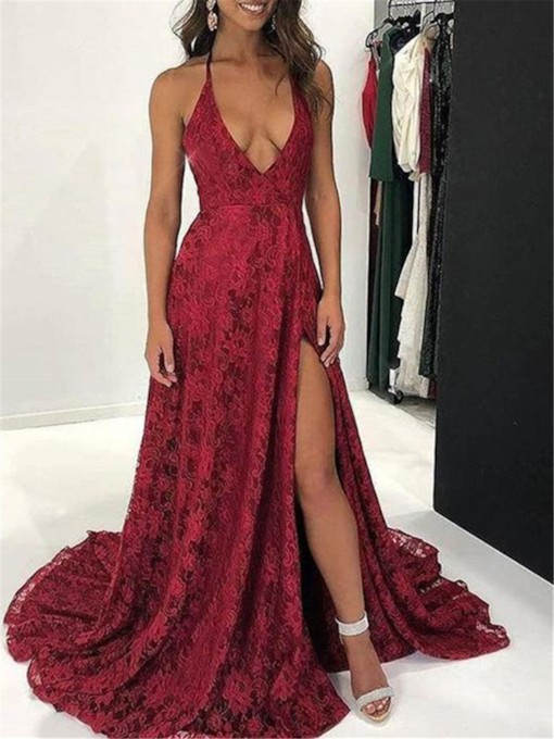 Sleeveless Lace Halter A-Line Evening Dress 2019