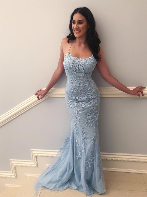 Spaghetti Straps Appliques Mermaid Prom Dress 2019