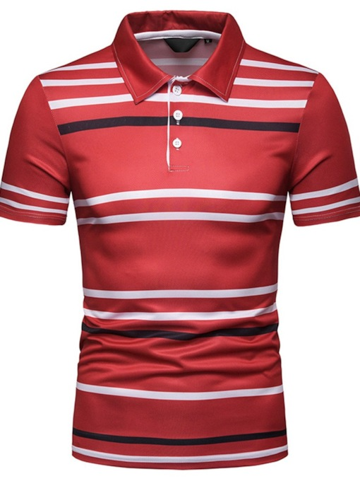 Stripe Polo Neck Casual Men's Polo Shirt