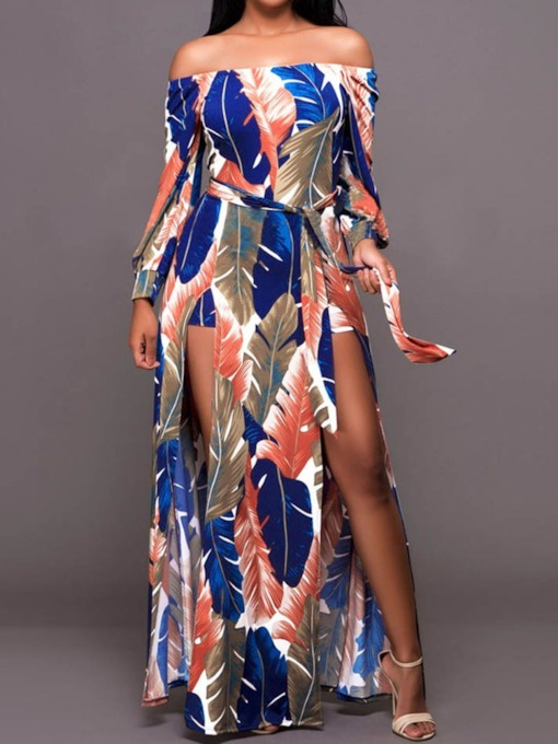 Long Sleeve Print Off Shoulder Summer Women's Maxi Dress