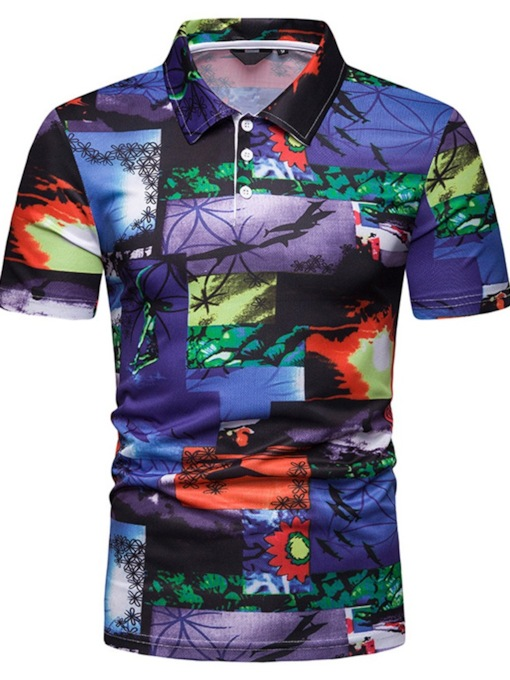 Slim Polo Neck Casual Print Men's Polo Shirt