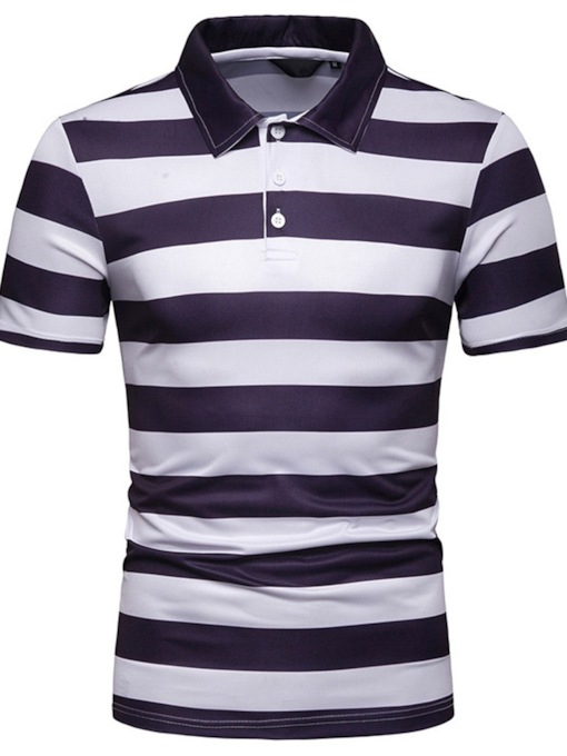 Casual Stripe Polo Neck Men's Polo Shirt
