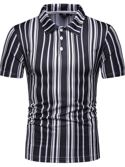 Casual Polo Neck Stripe Men's Polo Shirt