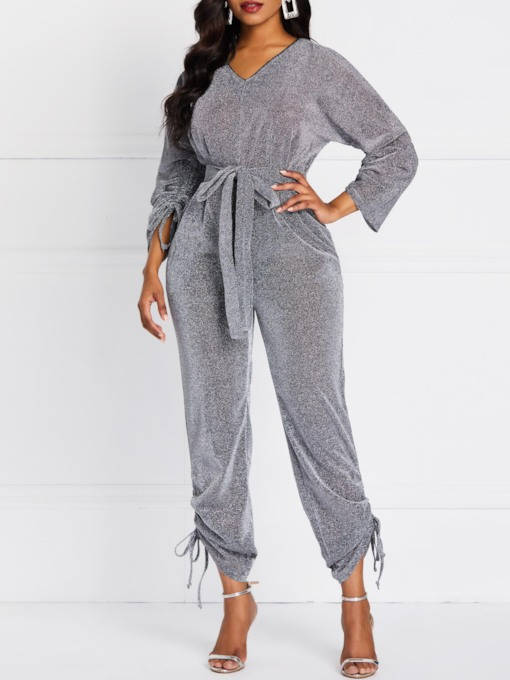 Plain Casual Lace-Up Full Length Slim Women's Jumpsuit
