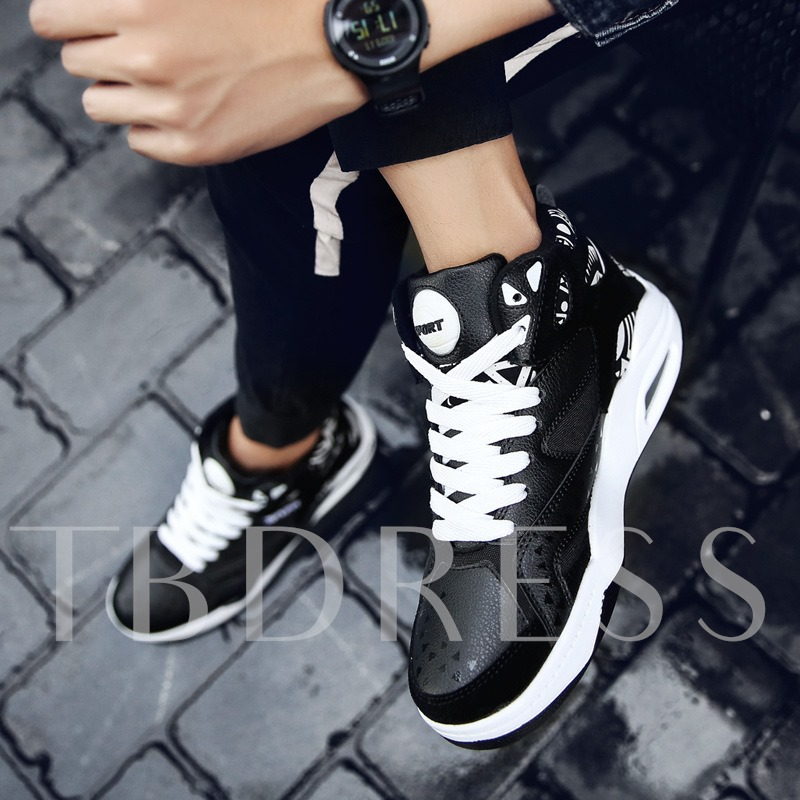 High Top Lace-Up Round Toe Color Block Men's Sneakers