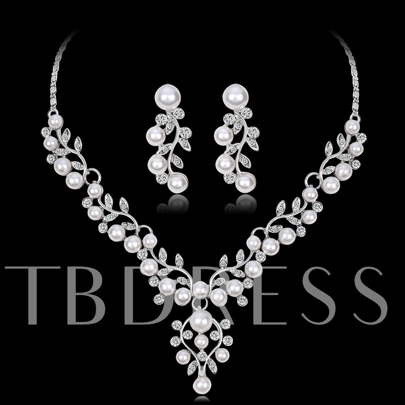 Floral Necklace Earrings Pearl Inlaid Jewelry Sets (Wedding)