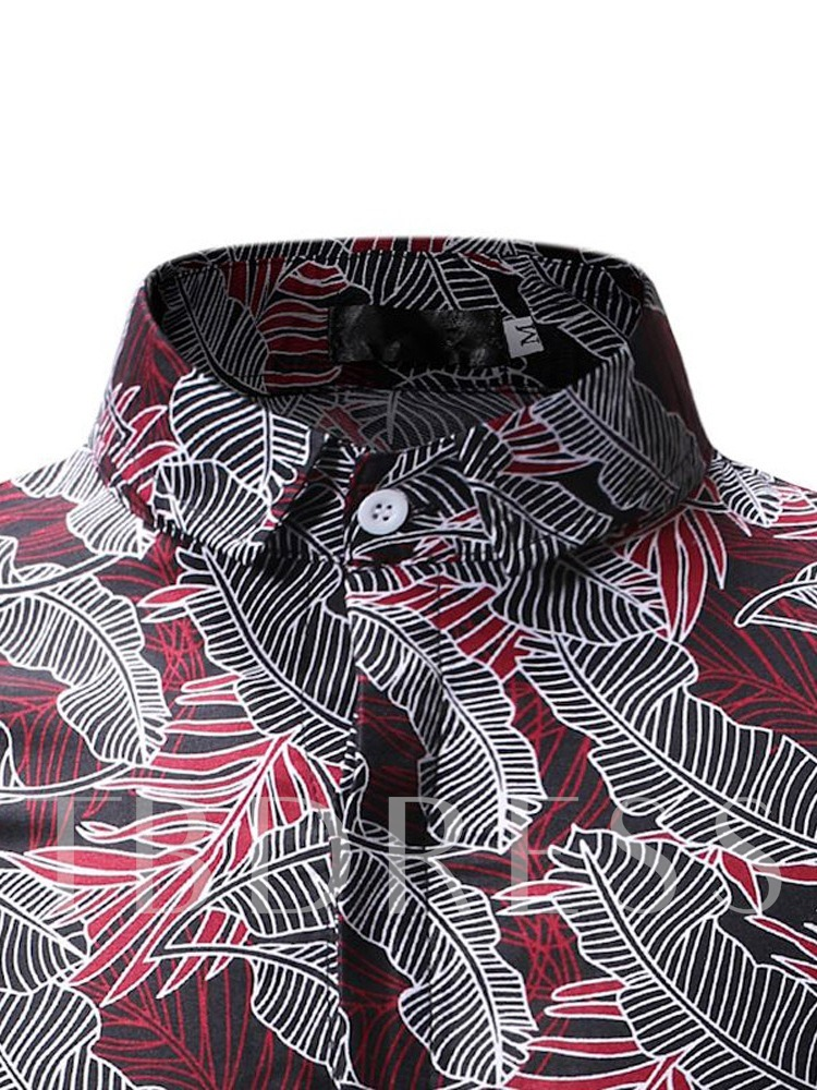 Floral Lapel Print Casual Slim Men's Shirt