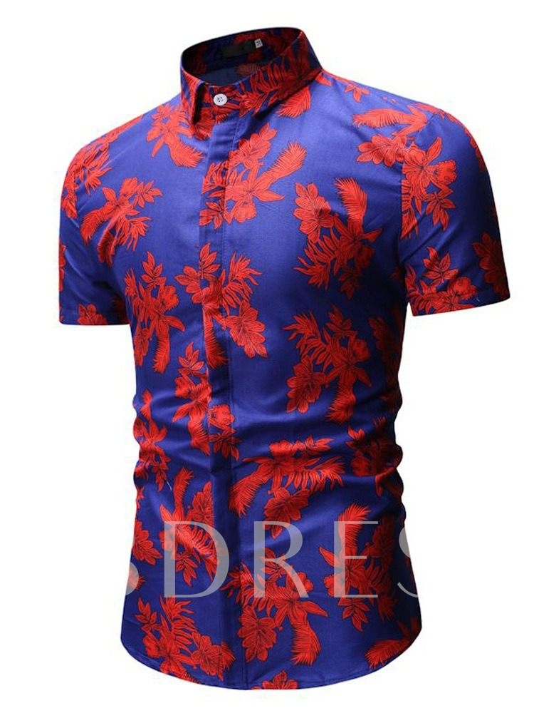Floral Casual Print Lapel Slim Men's Shirt