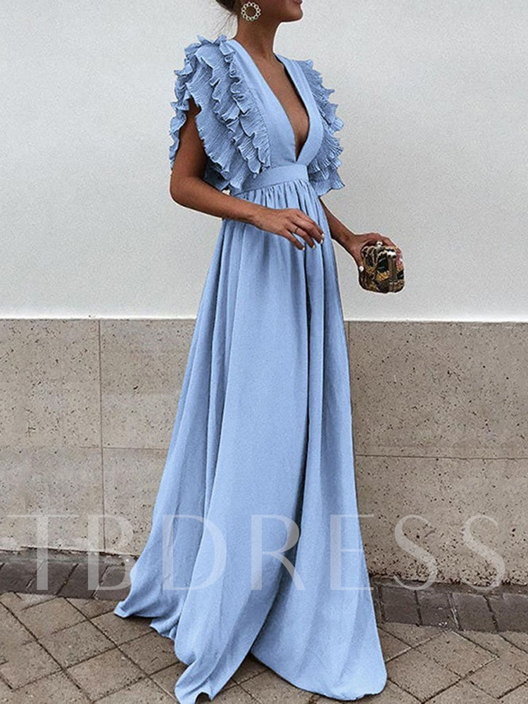 Short Sleeve Pleated V-Neck Ruffle Sleeve Women's Maxi Dress