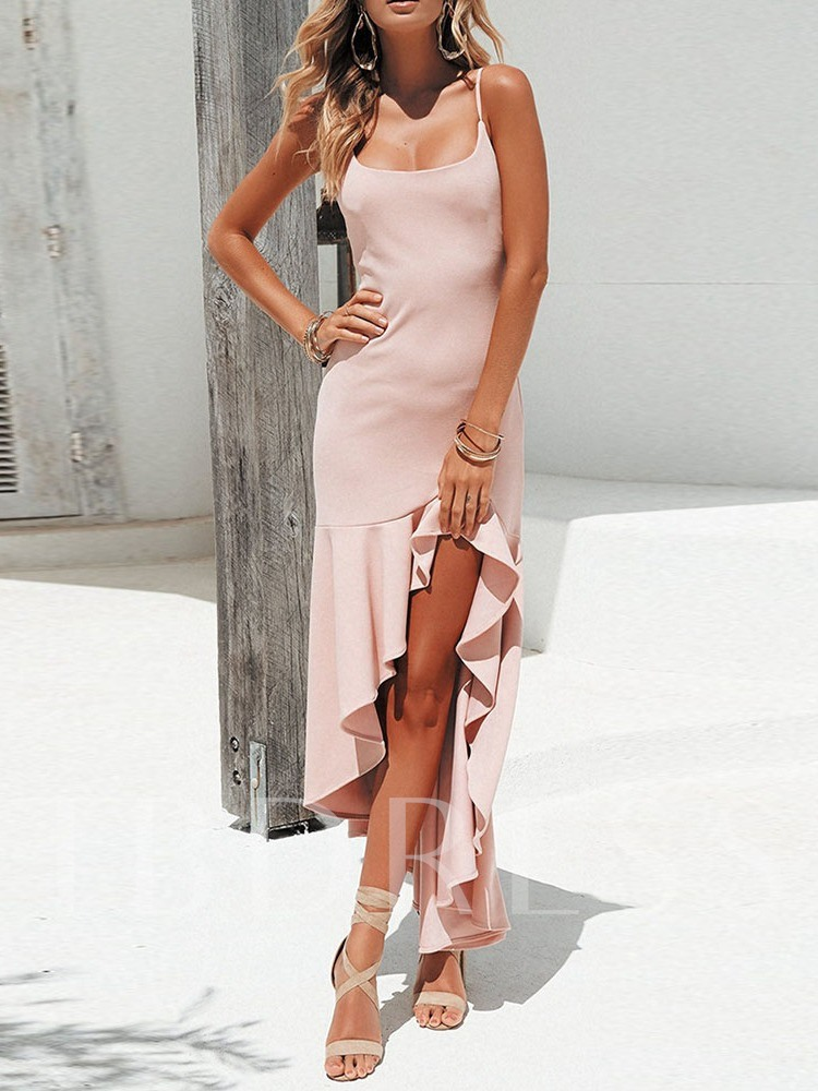 Pleated Sleeveless Asymmetrical Women's Maxi Dress