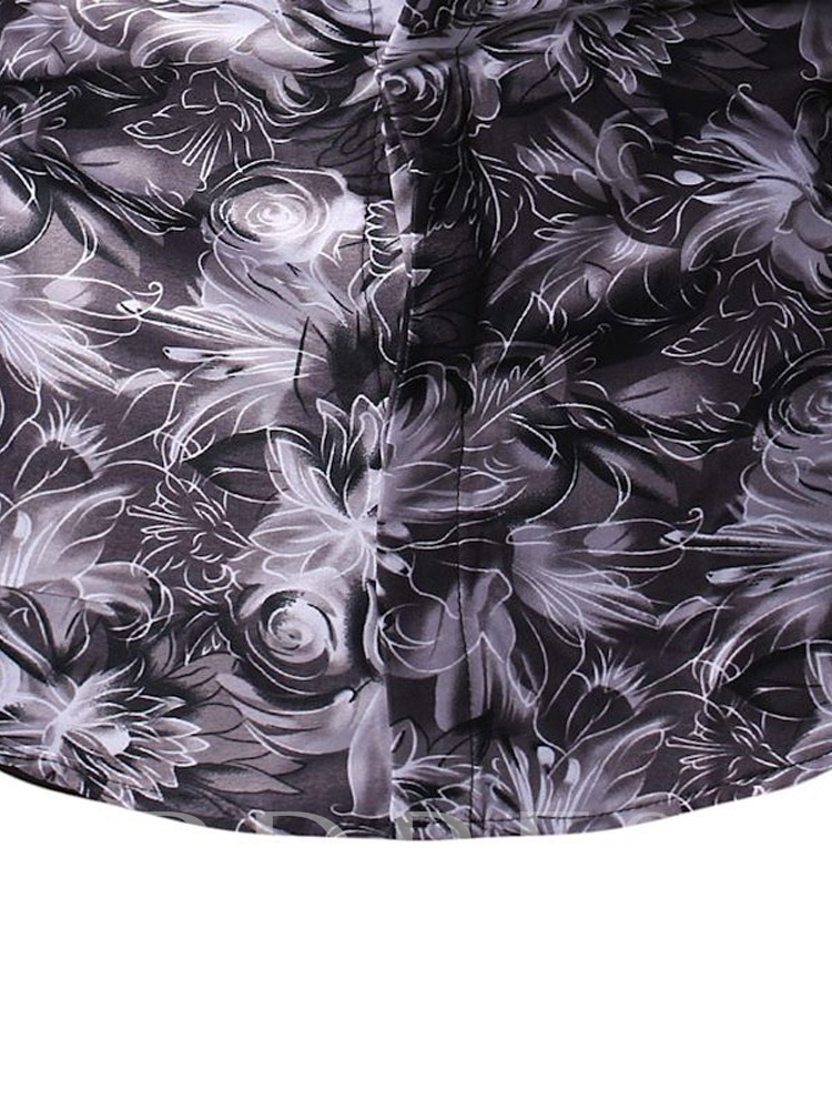 Casual Floral Lapel Print Men's Shirt