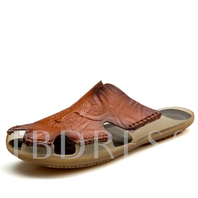 Sewing Closed Toe Slip-On Men's Slippers