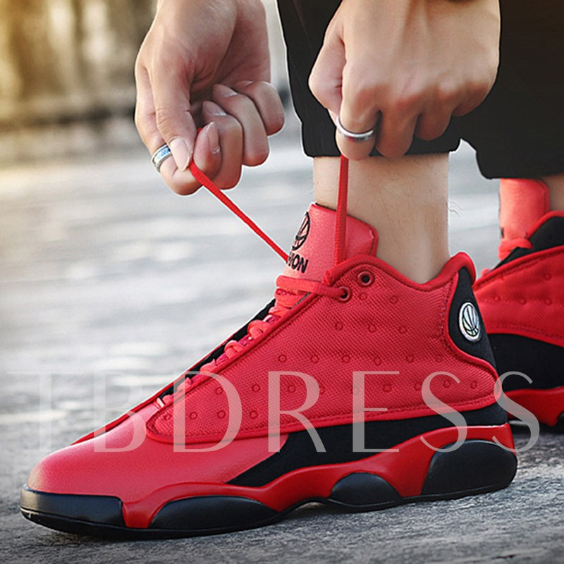 High-Cut Upper Lace-Up Round Toe Trendy Men's Basketball Shoes
