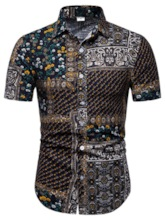 Print European Lapel Floral Men's Shirt
