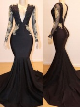 Long Sleeves V-Neck Court Appliques Prom Dress 2019