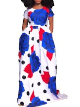 Round Neck Short Sleeve Print Floral Women's Maxi Dress