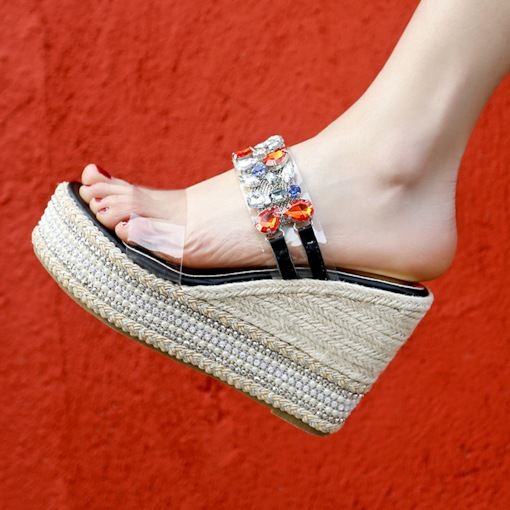 Slip-On Wedge Heel Rhinestone Dressy Women's Sandals