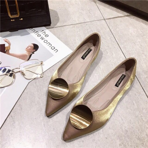 Pointed Toe Sequin Slip-On Block Heel Women's Flats