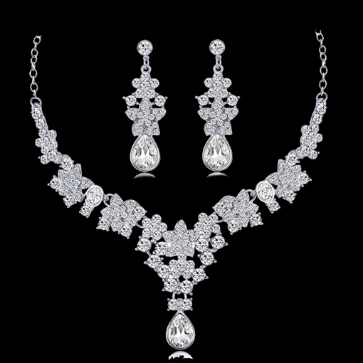 Necklace Floral Rhinestone Wedding Jewelry Sets