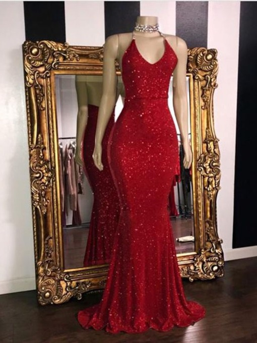 Mermaid Halter Red Sequins Evening Dress