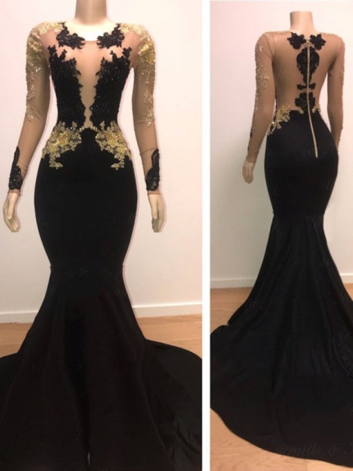 Appliques Floor-Length Trumpet Long Sleeves Prom Dress 2019